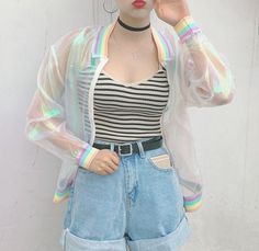 Goth Gothic Lolita Rainbow Glitter Baseball Jacket Sheer Women's Fashion