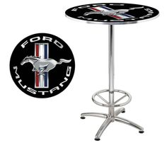 """Ford Mustang Running Horse 27"""" Round Cafe Game Room Bar Table - Chrome & Black"""