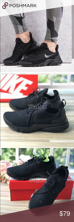innovative design a5d06 9d208 NWT Nike Air Presto Fly Black W AUTHENTIC Brand new with box, no lid.
