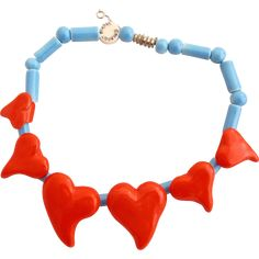 RED TAG SALE ITEM - 30% OFF 4/28 - 4/30 ONLY!  Vintage Parrot Pearls Curvy Hearts Ceramic Choker Necklace