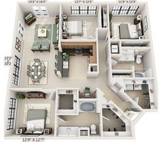 4 bedroom home with study nook and triple car garage Sims 4 House Plans, House Layout Plans, Dream House Plans, House Layouts, Small House Plans, House Floor Plans, Sims 4 Houses Layout, Sims 4 House Design, Apartment Floor Plans