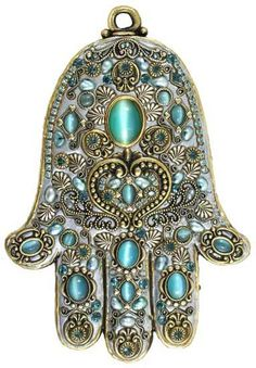 Michal Golan Cat's Eye and Freshwater Pearl Wall Hamsa