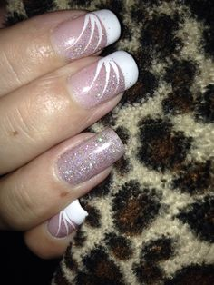 French tip shellac nails with sparkle additive