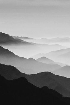 Black and white photography. Layers of mountains. Watercolor Landscape, Watercolor Paintings, Chinese Landscape Painting, Landscape Art, Landscape Photography, Nature Photography, Rainbow Photography, Mountain Drawing, Elements Of Art