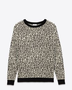 7599f55f3e0f SAINT LAURENT Crewneck Sweater In Ivory And Black Leopard Mohair