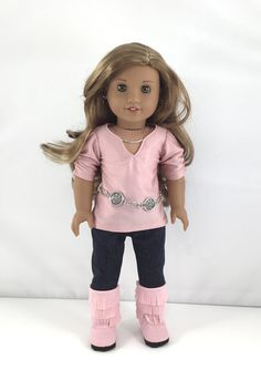 "18T Uptown Girl - Top, Leggings, Belt and Boots for 18"" Dolls like American Girl (R) Doll Lea, Grace , McKenna, Rebecca, Lanie and Saige by MjsDollBoutique18T on Etsy"