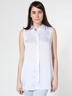 Sleeveless Crepe de Chine Button-Up | M White