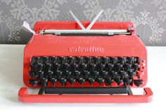 "Valentine typewriter. New ribbon. (for ""guest book""/ personalized, typed notes & wishes). $395."