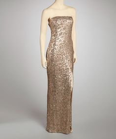 Take a look at this Gold Sequin Maxi Dress by Prive by Allen Schwartz on #zulily today!