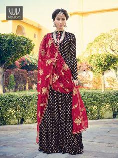Buy Blue Jacquard Suit, Designer Palazzo Suit - VJV Fashions Robe Anarkali, Costumes Anarkali, Silk Anarkali Suits, Churidar Suits, Anarkali Churidar, Abaya Style, Saris, Designer Salwar Suits, Designer Dresses