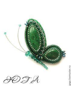 Купить Брошь-бабочка с малахитом 2 шт - зеленый, брошь, брошь ручной работы