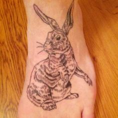 Rabbit tattoo by Billy Shofner co owner and operator at Brut  Tattoo Charlotte Nc 704-336-9354