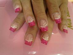 French tip nails. Fancy Nails, Pink Nails, Pretty Nails, Nail Manicure, Toe Nails, Nail Polish, French Acrylic Nails, French Tip Nails, French Tips