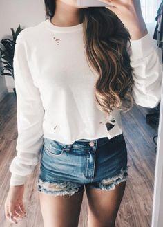 hip hop lâ Cute Outfits For School, Summer Outfits, Casual Outfits, Fashion Outfits, Womens Fashion, Big Fashion, Fashion Ideas, Long Sleeve Sweater, Long Sleeve Tops