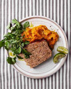 Chipotle-Glazed Meatloaf with Sweet Potatoes (via http://www.marthastewart.com)
