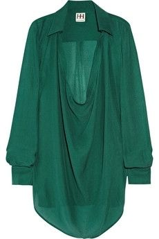 Haute Hippie | Draped silk blouse | NET-A-PORTER.COM - StyleSays