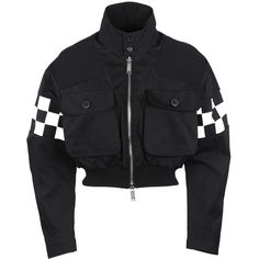 Checkerboard Bomber (2.540 BRL) ❤ liked on Polyvore featuring outerwear, jackets, button jacket, dsquared2 jacket, zipper jacket, zip bomber jacket and mandarin-collar jackets