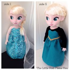 Frozen Inspired Reversible Elsa Doll Dress by TheLittleRedMamaHen