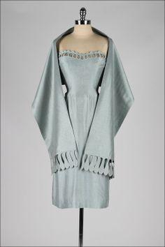Grey Blue Raw Silk Strapless Dress and Wrap