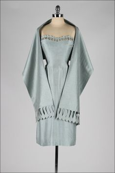 ~Grey Blue Raw Silk Strapless Dress and Wrap~