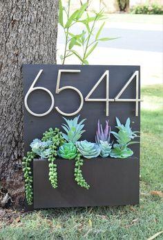 Succulent Arrangement for Your Address Planter! Artificial Succulents, Cacti And Succulents, Succulent Boxes, Potted Plants, Diy Planter Box, Wooden Planters, Environmental Graphic Design, Succulent Arrangements, House Numbers