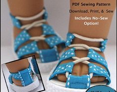 Pixie Faire QTπ Doll Clothing Expedition Sandals Doll Clothes Shoe Pattern for 18 inch American Girl Dolls - PDF