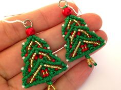 Macrame Earrings Christmas Earrings Christmas Tree by MACRANI
