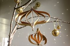 diy veneer ornaments and gold disco balls by mod frugal