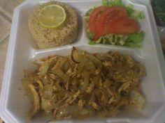 Vaca Frita, Brown Rice and Salad