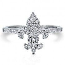 Cubic Zirconia CZ Sterling Silver 925 Fleur De Lis Fashion Ring