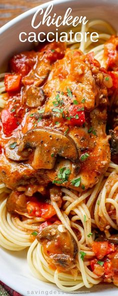 Really good Chicken Cacciatore is one of the most satisfying, delicious and comforting Italian dishes you can make at home. Great served with spaghetti or over polenta. #savingroomfordessert #chicken #chickenthighs #chickencacciatore #cacciatore #comfortfood #italiandish #italian #cookingrecipes