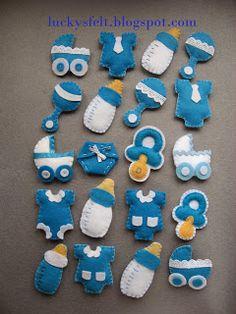 FILC Lucky Felt Crafts Patterns, Felt Crafts Diy, Baby Crafts, Baby Shower Crafts, Baby Boy Shower, Baby Cot Bumper, Moldes Para Baby Shower, Baby Shower Souvenirs, Baby Corner