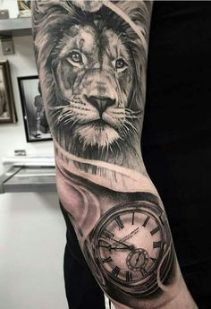 Power Leo Tattoos, Animal Tattoos, Future Tattoos, Body Art Tattoos, Tattoos For Guys, Leo Tattoo Designs, Clock Tattoo Design, Calf Tattoo, Tiger Tattoo