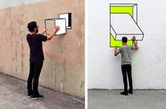 Dimensions Blur in Aakash Nihalani's Minimalist Optical Illusions Interactive Walls, Interactive Installation, Installation Art, Washi Tape, Masking Tape, Art Optical, Optical Illusions, Realistic Drawings, Cool Drawings