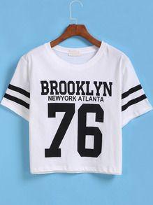 kurzes T-Shirt Kurzarm mit BROOKLYN 76 Print-weiß
