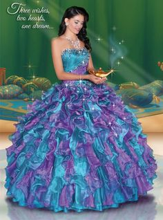 Disney Royal Ball Quinceanera Dress Jasmine Style 41045 is made for Sweet 15 girls who want to look like a beautiful Princess on her special day. Designed by Impression Bridal, these quinceanera dress