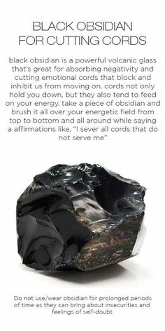 Obsidian - crystal for cord cutting, cutting emotional cords, road opener Crystal Magic, Crystal Healing Stones, Stones And Crystals, Gem Stones, Black Crystals, Quartz Crystal, Grounding Crystals, Healing Rocks, Crystal Ship