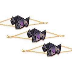 Cosmic Triangle Geometric Leather Bracelet Hand Painted Purple and Black Ombre, Leather Cuff 7.jpg