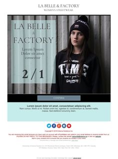 La Belle & Factory - Exclusive Canvas template for email marketing - editable - No html skill required - No Photoshop needed Email Marketing Design, No Photoshop, Newsletter Templates, Lorem Ipsum, Ecommerce, Street Wear, Graphic Sweatshirt, Design Inspiration, Canvas