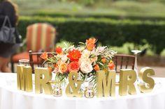 Sweetheart table. Florals by Briana Maxson Design. Coral, Peach, Gold Wedding. Intimate wedding. Outdoor wedding. Oak Creek Golf Club Wedding.