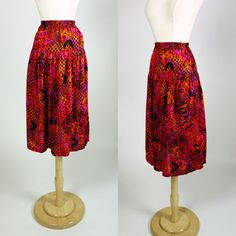 1980s floral print skirt, high waist rayon tribal print red and pink A line skirt, small to medium, size 6 to 8