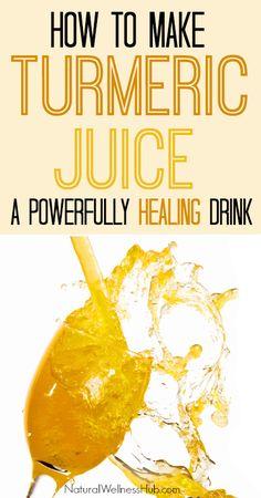 How to make Turmeric Juice: a healing beverage with the power of turmeric! Healthy Drinks, Healthy Tips, Healthy Choices, Healthy Recipes, Juice Recipes, Detox Drinks, Natural Medicine, Herbal Medicine, Herbal Remedies