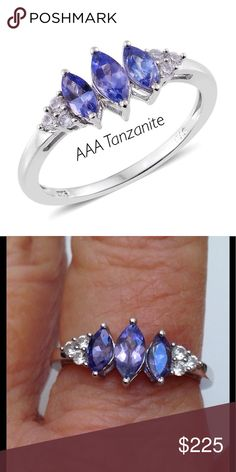 AAA Tanzanite Ring Premium AAA Tanzanite, Cambodian Zircon Platinum Over Sterling Silver Ring (Size 8.0) Found in only one place on earth, Mt. Killamenjaro. 10,000X rarer than diamonds. Completely natural. Beautiful Marquis cut adds to its value. AAA has not been coming out of the mines for quite a few months. In late 9/17 the government took control of the remaining two mines making it's future uncertain.  TGW 1.23 cts. RARE Jewelry Rings