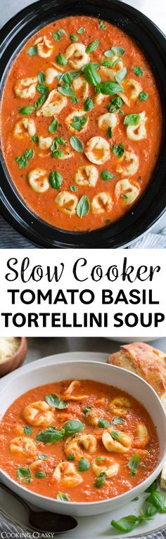 This Creamy Tomato Basil Tortellini Soup is what the slow cooker was made for! This might just be the best tomato soup you& ever had! It& so easy to make, perfectly flavorful and satisfyingly hearty. Crock Pot Slow Cooker, Crock Pot Cooking, Slow Cooker Recipes, Crockpot Recipes, Soup Recipes, Vegetarian Recipes, Cooking Recipes, Healthy Recipes, Gastronomia