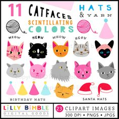 """Cat Faces"" Includes lots of cute cats, 4 birthday hats, 2 santa hats, 2 balls or yarn and 4 (word) Meows."