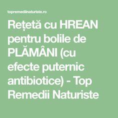 Rețetă cu HREAN pentru bolile de PLĂMÂNI (cu efecte puternic antibiotice) - Top Remedii Naturiste How To Get Rid, Good To Know, Medical, The Body, Medicine, Med School, Active Ingredient
