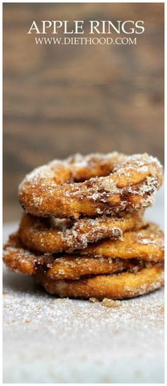 An amazing, quick and delicious Fall snack - Sliced apple rings covered in batter and topped with cinnamon-sugar! Incredible!