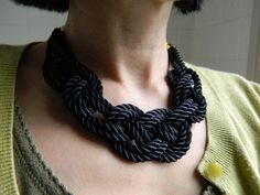 Thursday Handmade Love Week 67 Theme: Sailor Includes links to #free #crochet patterns  Reserved for Virginie: Black Sailor Knot /Japanese Knot Necklace/choker, Rope Necklace, Nautical Necklace via Etsy