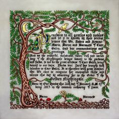 SCA scroll - gorgeous! If I ever tire of hobbies involving string, I may take up calligraphy and illumination.