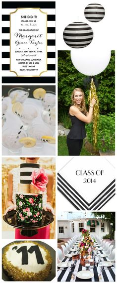 FineStationery.com: Black and White Graduation Party features our Portofino Lanterns.